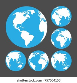 White map of the continents of the world on blue background. Globe icon with smooth vector.