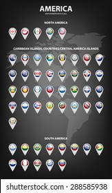White map markers with flags - North and South America, Caribbean Islands, countries, Central America Islands.. Vector EPS10 illustration.