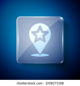 White Map pointer with star icon isolated on blue background. Star favorite pin map icon. Map markers. Square glass panels. Vector