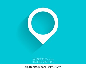 White map position icon on blue background