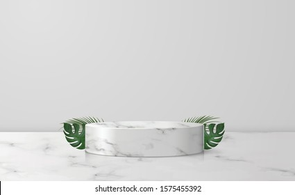 White marble cylinder podium in white background. decor by palm, monstera leaves scene stage mockup showcase for product, sale, banner, discount, presentation, cosmetic, offer. illustration vector.