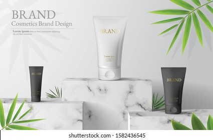White marble Square podium in white background. decor by palm leaves and blank Brand product mockup scene stage for ads product, sale, banner, presentation, cosmetic, offer. 3d illustration vector.