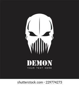 White Mask. Alien. Predator. Artwork. Suitable for team identity, insignia, emblem, illustration for apparel, mascot, motorcycle community, icon, etc.