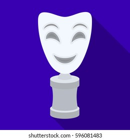 White mask MIME on the stand.The prize for best drama.Movie awards single icon in flat style vector symbol stock illustration.