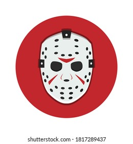 White mask on red background for Halloween and Friday 13. EPS 10.