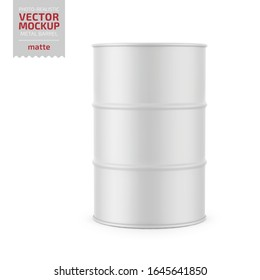 White matte 200 l metal barrel. Container for liquid chemical products - oil, fuel, gasoline. Photo-realistic packaging vector mockup template. Vector 3d illustration.