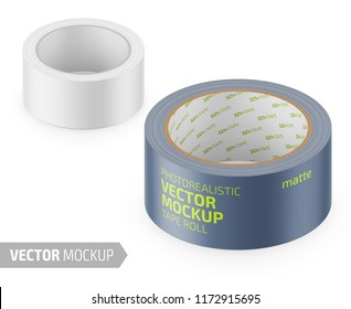 White matte cello tape roll. Photo-realistic packaging mockup template with sample design. Vector 3d illustration.