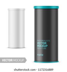 White matte paper tube with plastic lid for snacks, chips. Photo-realistic packaging mockup template with sample design. Vector 3d illustration.