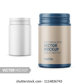 White matte plastic bottle with snap hinge push on cap for medicine, tablets, pills. Photo-realistic packaging mockup template with sample design. Front view. Vector 3d illustration.