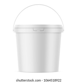 White matte plastic bucket for food products, paint, household stuff. 900 ml. Realistic packaging mockup template. Front view, handle up. Vector illustration.
