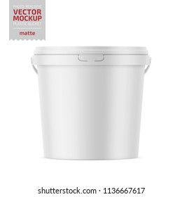 White matte plastic bucket for food products, paint, household stuff. 900 ml. Realistic packaging mockup template. Handle down backward. Vector illustration.