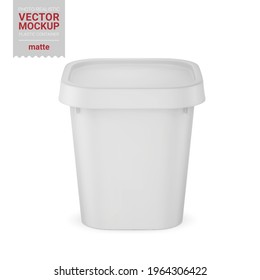 White matte square plastic container. Photo-realistic packaging mockup template. Hi-angle view. Vector 3d illustration. Contains an accurate mesh to wrap your artwork with correct envelope distortion