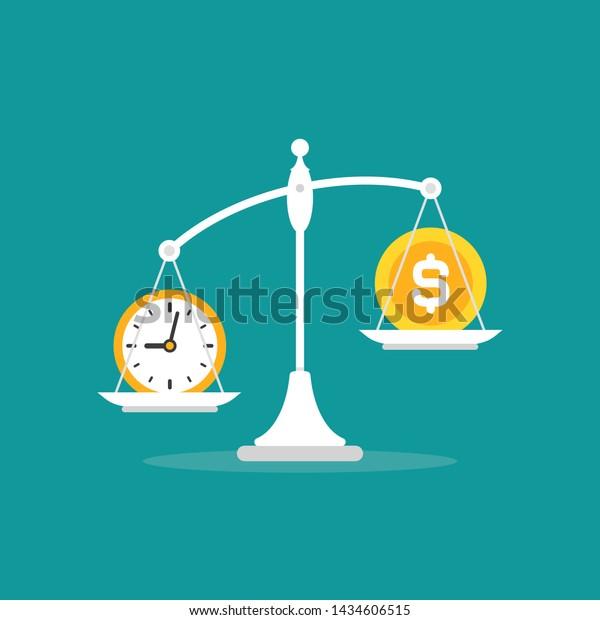 White Mechanical Scales Dollar Coin Clock Stock Vector