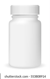 White medical container on white background, realistic vector illustration