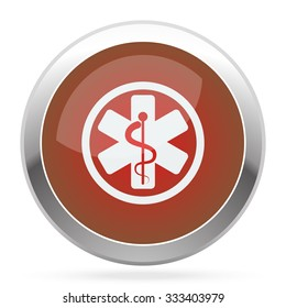 White Medical  icon on red web app button