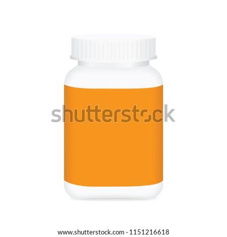 White Medicine Bottle Orange Label Bottle Stock Vector Royalty Free