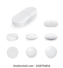 White medicine pills and tablets isolated on white background. Vector illustration of pharmaceutical
