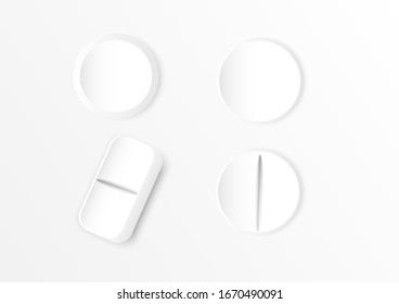 white medicine pills and tablets isolated on white background