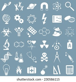 White medicine and science vector icons set