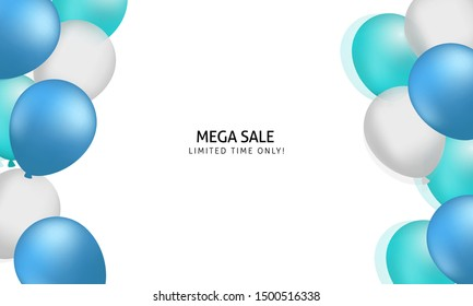 White mega sale banner with balloon background