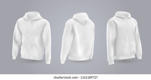 White men's hooded sweatshirt mockup in front, back and side view, isolated on a gray background. 3D realistic vector illustration, pattern formal or casual sweatshirt.