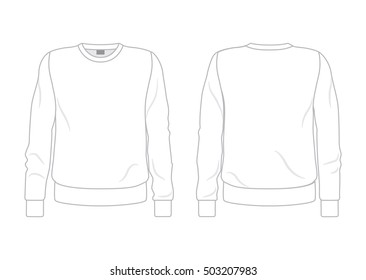 White men's sweatshirt template front and back view