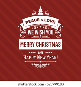 White Merry Christmas greetings badge label, simple clean design elements on red background