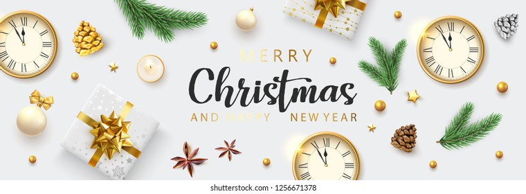 White Merry Christmas and Happy New Year banner with clock, top view gifts and holiday decorations. Vector background.