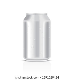 White metal can with water drops isolated on a white background