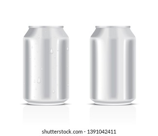 White metal cans with water drops isolated on a white background