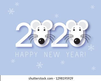 White Metal Rat Chinese year symbol. Mouse Chinese new year symbol vector illustration. Happy new year. 2020