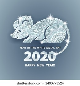 White Metal Rat is a symbol of the 2020 Chinese New Year. Holiday illustration of decorated silhouette Zodiac Sign of rat on a grey background. Vector element for banner, poster, flyer, greeting card
