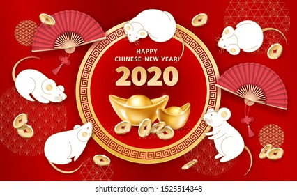 White metal Rat is a symbol of 2020 Chinese New Year. Banner with cute mice, realistic gold ingots Yuan Bao, falling coins, hand fans on red background. The wish of wealth, abundance and monetary luck