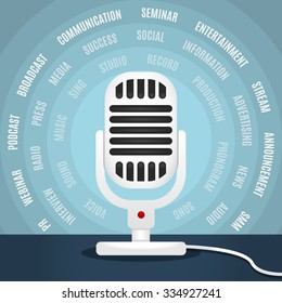 White microphone over blue background. Concept of webinars, audio podcasting, radio shows and other. Sound recording. Audio blogging.
