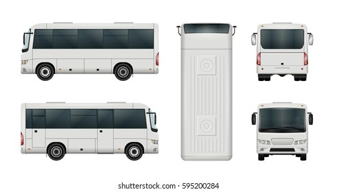 White mini bus vector template. Isolated city minibus set. Vehicle branding mockup. Side, front, back, top view. All elements in the groups on separate layers. Easy to edit and recolor.