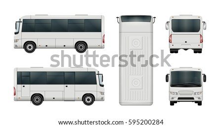 white mini bus vector template isolated のベクター画像素材