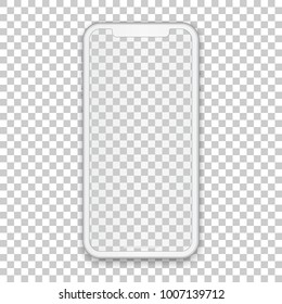 White mobile concept with empty screen for any application design and backdrop, phone template isolated on transparent background. High quality vector illustration in 3d style.