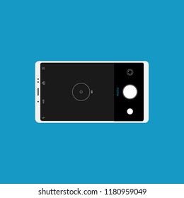 White mobile phone with blue background. Camera. Vector flat design