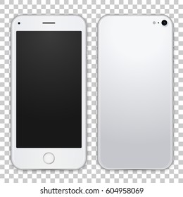 White mobile phone concept, front view and back side with shadows on transparent background. Smart phone with camera, power and volume buttons. Vector realistic high detailed illustration.