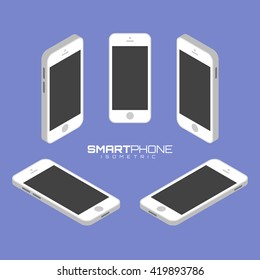 White Mobile phone from four sides icon set vector graphic illustration. Isometric view of the front, back, right, left and top.
