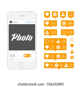 White mobile phone and Social network icons pack isolated on white background. Like, comment, follow and repost orange sign. Notification Tooltip with heart, user, speech bubble, counter. EPS10.