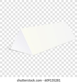 White mock up cardboard triangle box packing for food, gift or other Products. Vector illustration isolated on transparent background.
