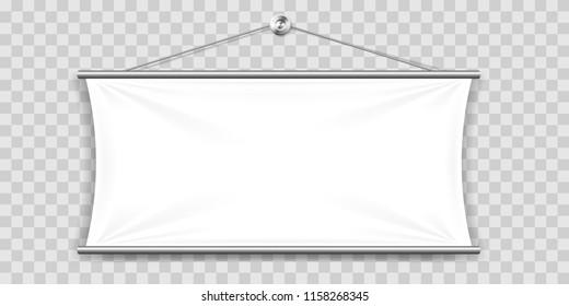 White mock up textile banner.