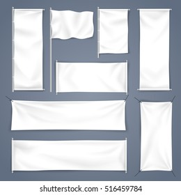 White mock up textile banner with folds, Vector Illustration, set of flag and empty advertising