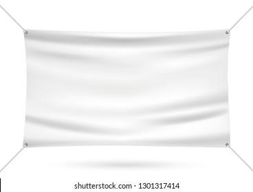 White mock up vinyl banner vector illustration