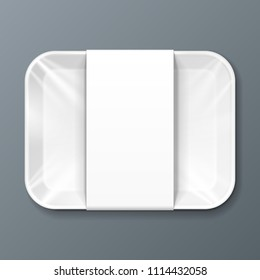 White Mockup Empty Blank Styrofoam Plastic Food Tray Container With Lable. Illustration Isolated On Gray Background. Mock Up Template Ready For Your Design. Vector EPS10