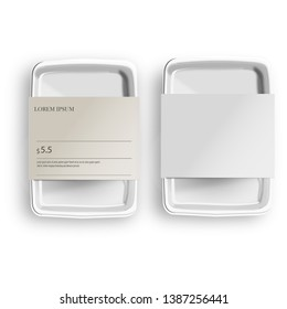 White Mockup Empty Blank Styrofoam Plastic Food Tray Container With Lable. Illustration Isolated On Gray Background. Mock Up Template Ready For Your Design