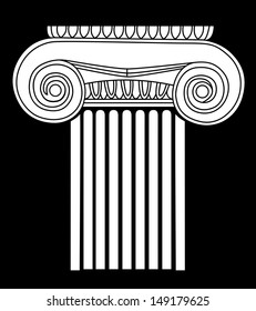 white model of simple silhouette of Greek column on the black background. vector illustration