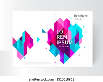 White modern business brochure/ leaflet, flyer, cover template. Abstract diagonal background blue and purple lines. stock-vector EPS 10