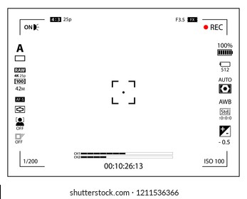 White modern digital camera focusing screen with settings template. Viewfinder mirrorless, DSLR or cameraphone camera recording. Vector illustration